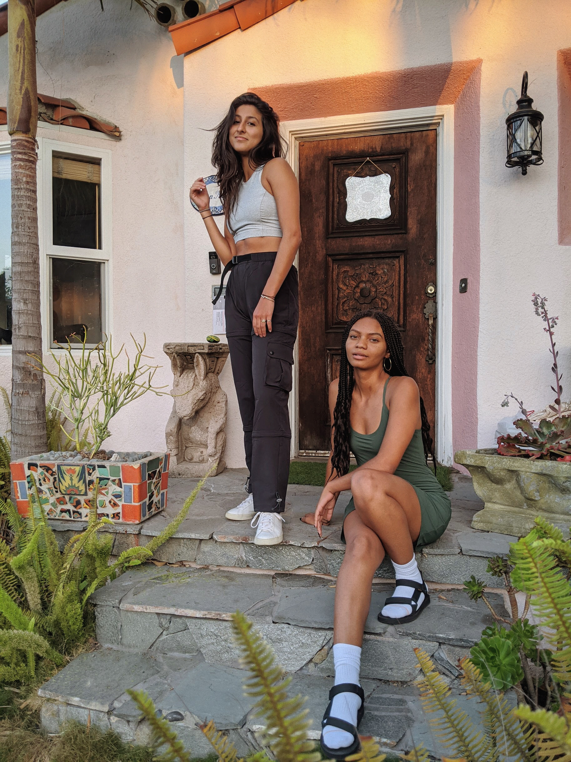 intersectional environmentalist cofounders leah thomas and diandra marizet pose in outdoor voices for the recreationalist